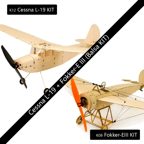 Free Shipping KS0812 Mini RC Balsawood Airplane Combo K08 Fokker-E + K12 Cessna L-19 Toy Hobby Aeroplane to Build Dancing Wings Hobby