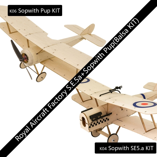 KS0406 Mini RC Balsawood Airplane Combo K04 Sopwith SE5.a+ K06 Sopwith PUP Toy Hobby Aeroplane to Build Dancing Wings Hobby Free Shipping