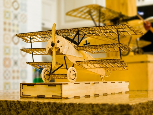 Free Shipping 3D Puzzles 1:18 Fokker-DRI Static Wooden Model Display DIY Craft Aeroplane to Build Handicrafts,Collection,Furnishing Decoration