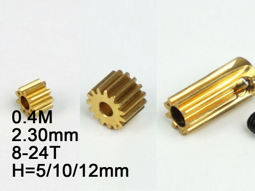 Free Shipping 5pcs/lot RC Model Metal Pinion Gear 5pcs/lot 0.4M 2.3mm (hole diameter) 8T/ 9T/10T/11T/12T/13T/14T/15T/18T/20T/24T Height:5mm/10mm/12MM