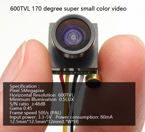 Free Shipping 600TVL 170 degree super small color video mini FPV camera with audio for Mini 200 250 300 Quadcopter