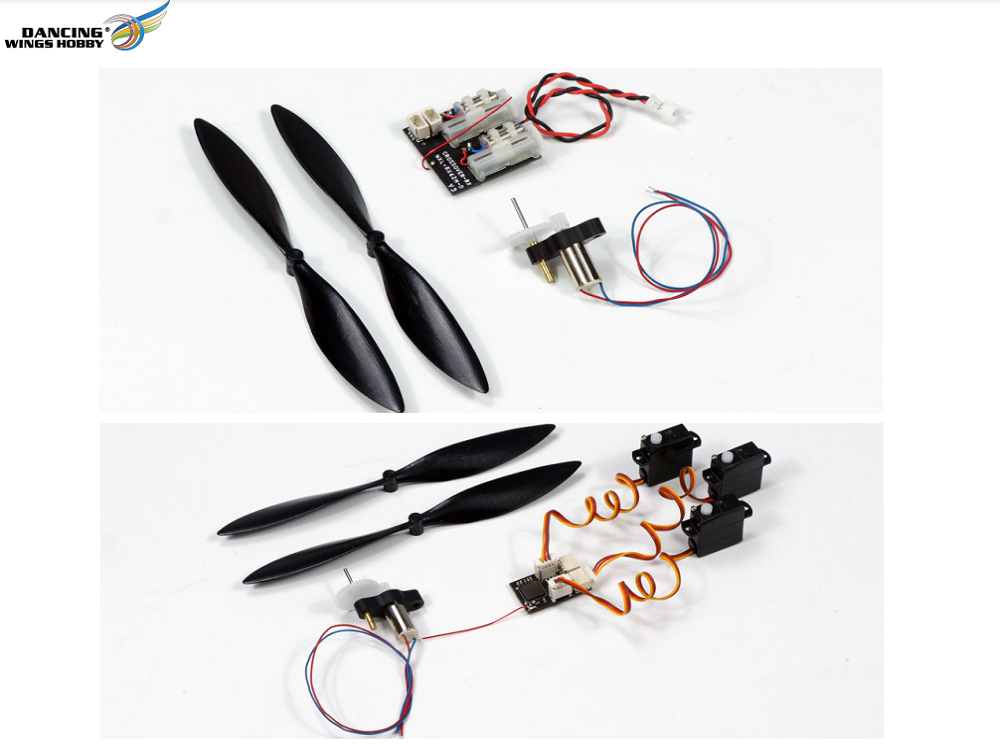 Free Shipping DIY Micro Brushed Power System with 6x14mm Brushed Motor/Micro Prop, and Micro Receivers for RC Mini Indoor Airpalne Model Dancing Wings
