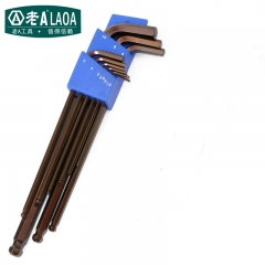 LAOA Industrial Grade S2 Material 9pcs Prolong Magnetic Ball Hex Wrench Set