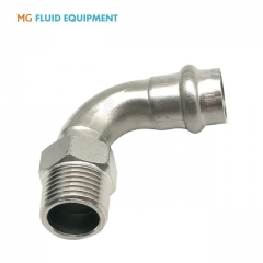 (V Press x Male )Press Fittings 90˚ Elbow With Male Thread Stainless Steel