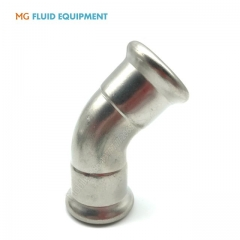 (M Press × M Press)Press Fit Fittings Equal 45º  Elbow Stainless Steel