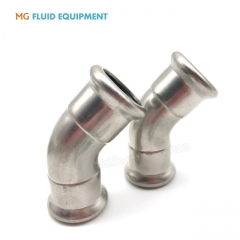 (M Press × M Press)Press Fittings Equal 45º  Elbow Stainless Steel