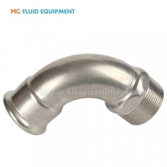 press fit bend 90 degree pipe fititngs with male threaded  stainless