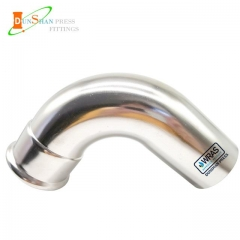 (M Press × Pipe Plain )Press Fittings 90º Elbow With Plain End Stainless Steel
