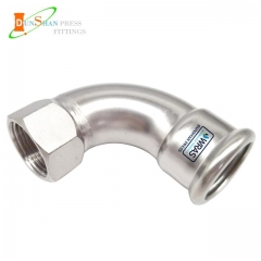 (M Press × Female)Press Fittings 90º Elbow With Female Thread Stainless Steel