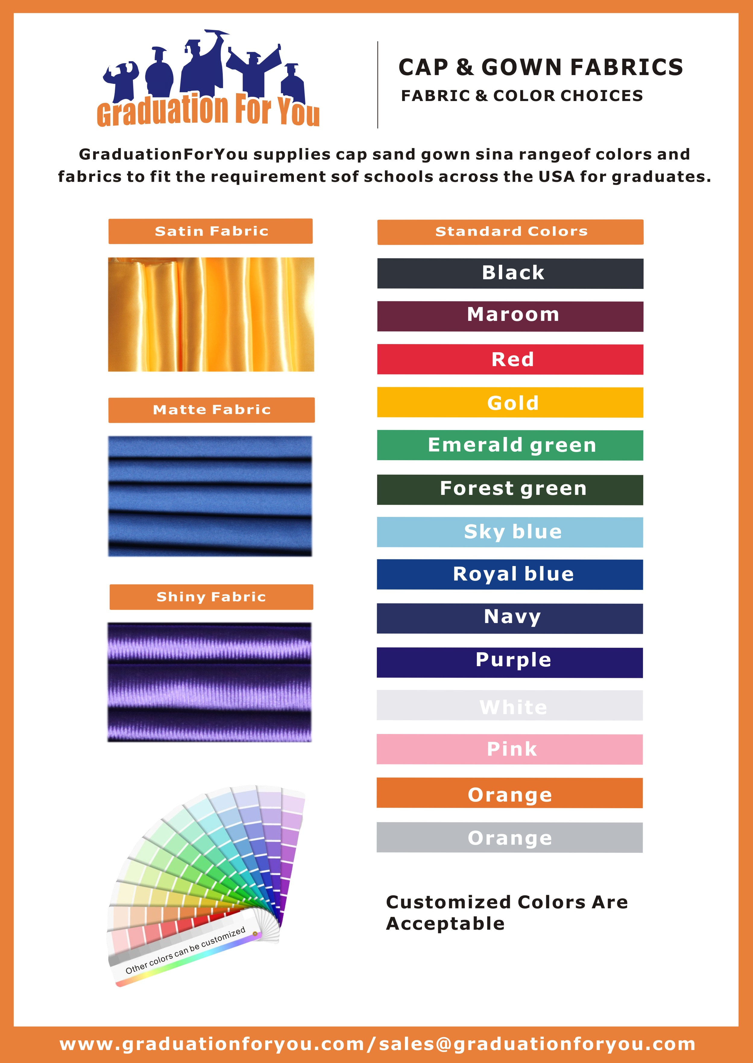 Color & Size Chart For Caps Gowns