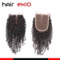 Natural Black Kinky Curly Lace Closure HairEX10 Products Virgin Human Hair Closure Kinky Curly