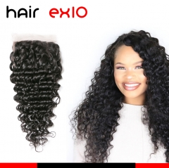 4x4 Lace Closure Deep Wave Closure Human Hair Lace Closure With With Baby Hair Bleached Knots 10A Lace Top Curly Closure