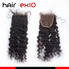 "Virgin Hair Loose Curly Lace Closure Hair Products(4""*4"") Human Hair Weave"