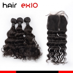 Virgin Hair Ocean Wave With Closure 4x4 Closure With Bundles 3pcs Human Hair Bundles With Frontal Closure