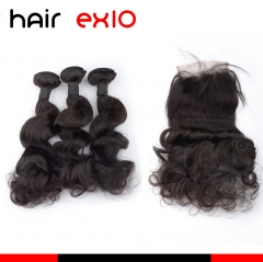 3 Bundles Loose wave Hair With Closure Virgin Hair Bundles With Closures Top Quality