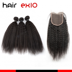 Virgin Kinky Straight Bundles With 4*4 Ear To Ear Lace Closure Kinky Straight Human Hair Bundles With Closure