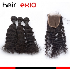 3 Bundles Loose Curly Hair With Closure Virgin Hair Bundles With Closures Top Quality
