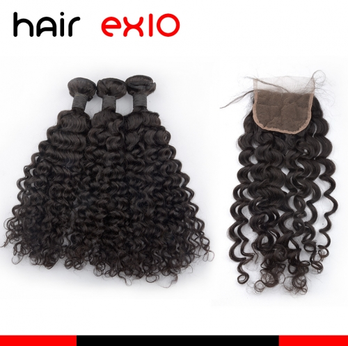 3 Bundles Water wave Hair With Closure Virgin Hair Bundles With Closures Top Quality