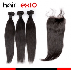 Brazilian Hair Straight Virgin Hair 3 Bundles with Closure Virgin Hair with Closure Human hair Bundles With Closure