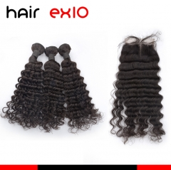 Virgin Hair With Closure 3 Bundles Curly Hair Bundle Deals With Lace Closure Deep Wave Human Hair Bundles With Closure