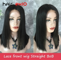 BOB Wig 14in Lace Front Wigs 180% Density Virgin Brazilian hair Soft Human Hair Wigs Straight Hair for Women