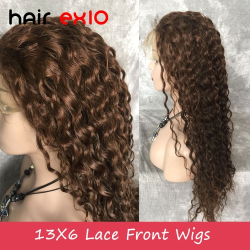 Lace Front Human Hair Wigs #4 #6 highlight 200% Density  24inch Virgin Brazilian hair Water Wave Virgin Hair Human Hair Wigs