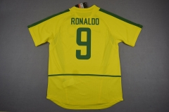 [JOE] Adult Retro 2002 Brazil #9 RONALDO Home Yellow Jersey