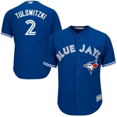 [JOE] Men's Toronto Blue Jays TULOWITZKI #2 Majestic Royal Alternate Cool Base Player Jersey