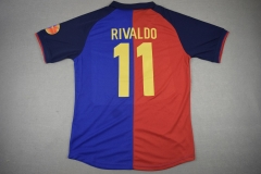 [JOE] Men's retro Barcelona #11 RIVALDO home red and blue version  1899-1999