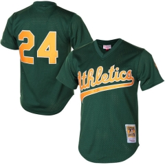 [JOE] Rickey Henderson Oakland Athletics Mitchell & Ness 1998 Cooperstown Mesh Batting Practice Jersey - Green
