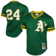 [JOE] Rickey Henderson Oakland Athletics Mitchell & Ness 1991 Cooperstown Mesh Batting Practice Jersey - Green