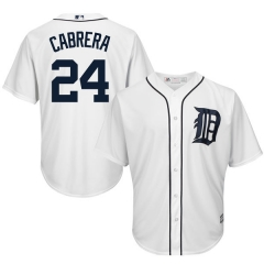 [JOE] #24 Miguel Cabrera Detroit Tigers Majestic Cool Base Player Jersey - White