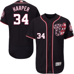 [JOE] #34 Bryce Harper Washington Nationals Majestic Alternate Flex Base Authentic Collection Player Jersey - Navy
