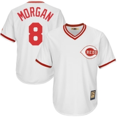 [JOE] #8 Joe Morgan Cincinnati Reds Majestic Youth Official Cool Base Player Jersey - White