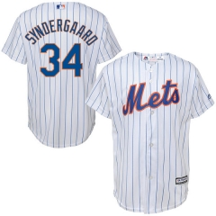 [JOE] #34 Noah Syndergaard New York Mets Majestic Youth Official Cool Base Player Jersey - White