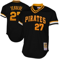 [JOE] #27 Mitchell & Ness Pittsburgh Pirates Kent Tekulve 1982 Cooperstown Collection Authentic Practice Jersey - Black