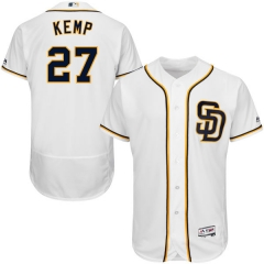 [JOE] #27 Matt Kemp San Diego Padres Majestic Home Flex Base Authentic Collection Player Jersey - White