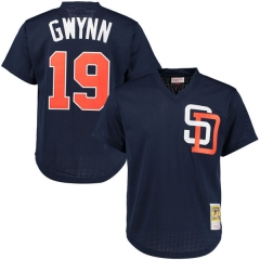 [JOE] #19 Tony Gwynn San Diego Padres Mitchell & Ness Cooperstown Mesh Batting Practice Jersey - Navy/Brown/Gold