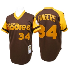 [JOE] #34 Rollie Fingers 1978 San Diego Padres Mitchell & Ness Authentic Throwback Jersey - Brown