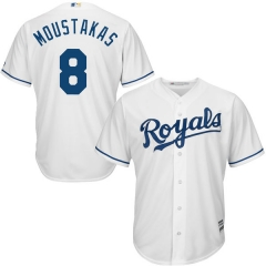 [JOE] #8Mike Moustakas Kansas City Royals Majestic Cool Base Player Jersey - White