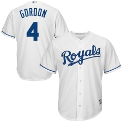 [JOE] #4Alex Gordon Kansas City Royals Majestic Official Cool Base Player Jersey - White/Royal