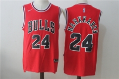 [JOE]Lauri Markkanen #24 Chicago Bulls Nike 2017 NBA Draft #1 Pick Replica Jersey - Red/Black