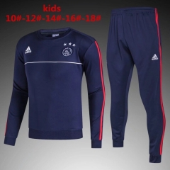 [JOE] Youth AFC Ajax Blue Round Neck Per-Match Training Suit 2017