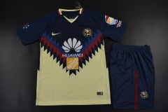 [JOE] Adult Club America Home Yellow And Dark Blue Fans Version Uniform 2017/18 ,Jersey+Shorts