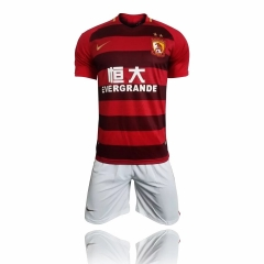 [JOE] Adult Guangzhou Evergrande Home Fans Version Uniform 2017/18 ,Jersey+Shorts,With Banners