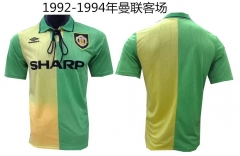 [JOE] Adult Manchester United Away Yellow And Green Retro Jersey 1992-1994