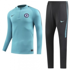 2017-2018 Chelsea 1/4 Zip Squad Round Collar Blue Training Suit