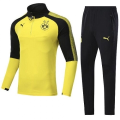 2017-2018 Borussia Dortmund 1/4 Zip Squad High Collar Yellow Training Suit