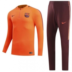 2017-2018 Barcelona 1/4 zip Squad Orange Training Suit