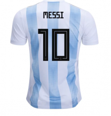 2018 Argentina #10 MESSI Home White/Sky Blue Soccer Jersey Shirts